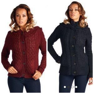 Cable knit button down thick lining sweater hoodie